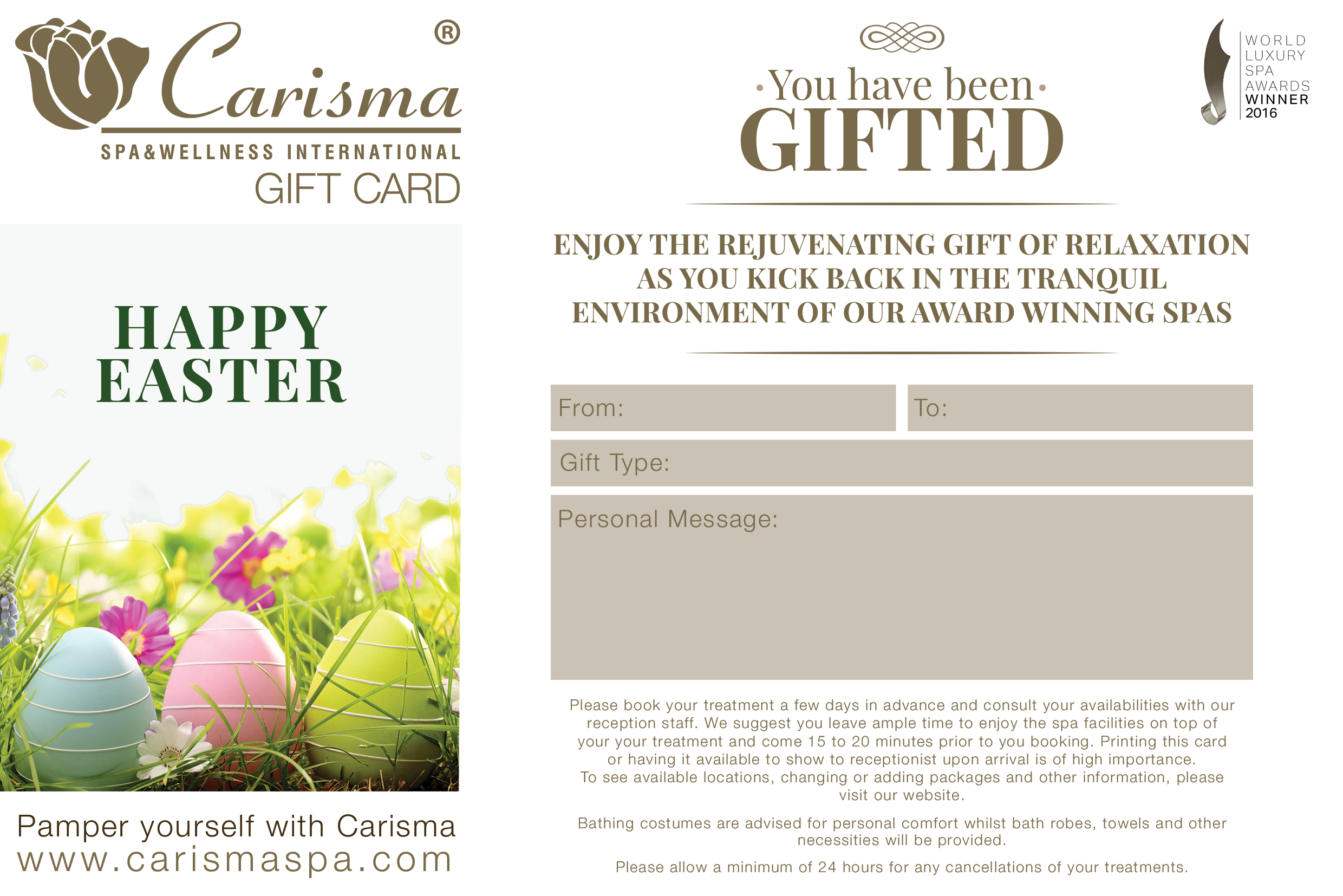 Easter e gift card full day spa access negle Image collections